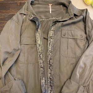 Free people Army Green Button Down